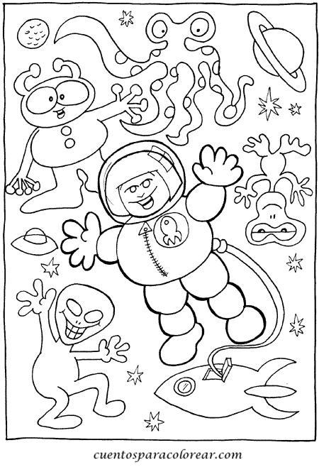 Dibujos para colorear astronautas - Dibujos infantiles del espacio ...