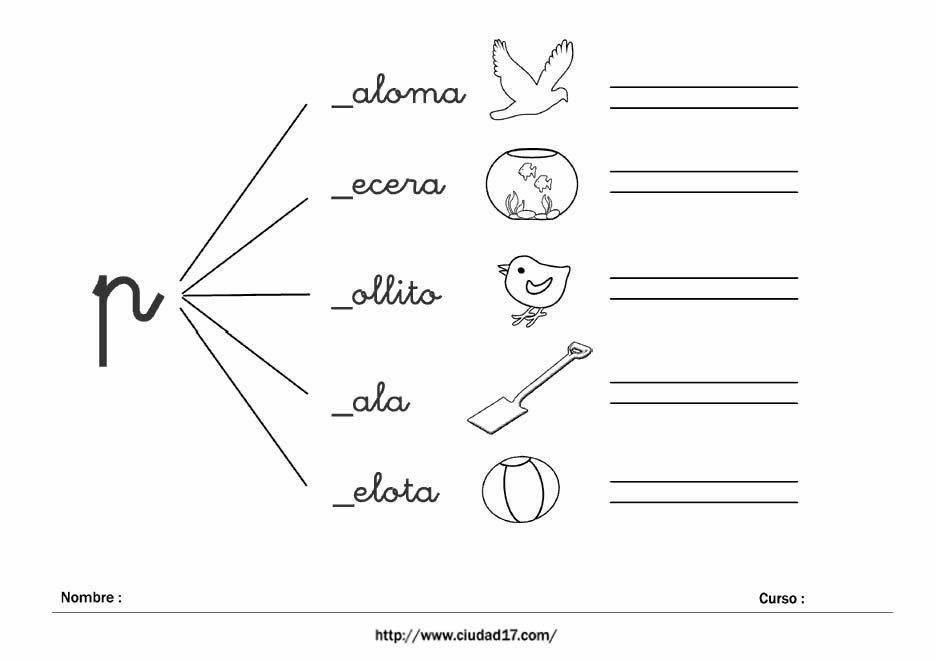 Fichas educativas de escritura