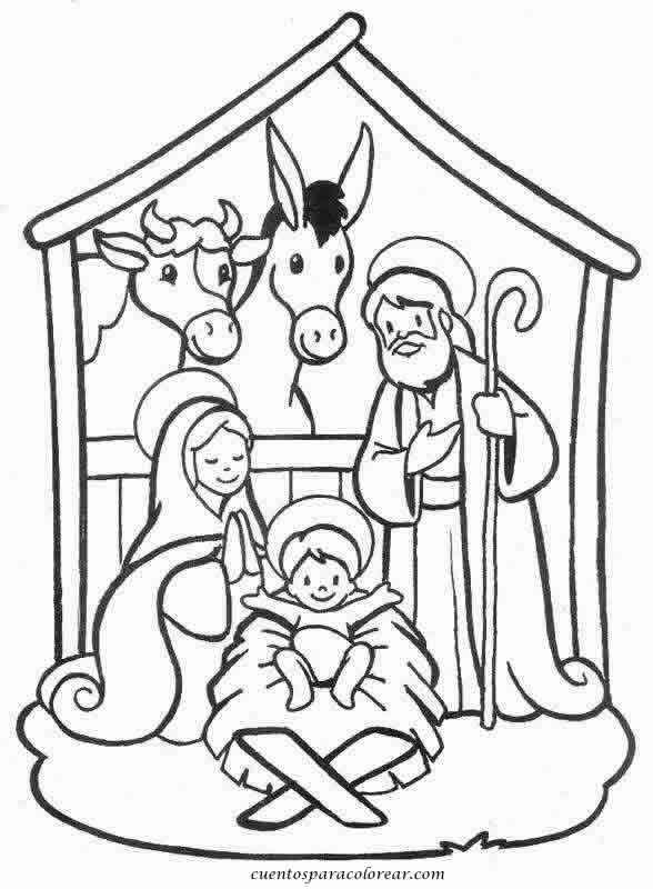 Dibujos para colorear Pesebre navideño