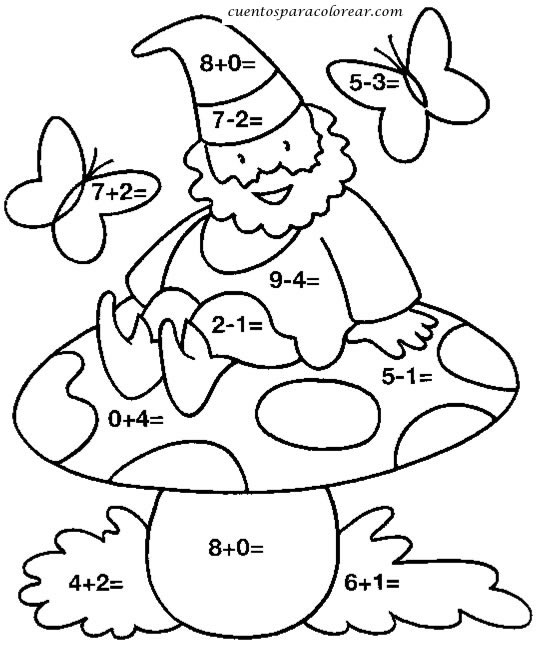 Dibujos para colorear sumas y restas
