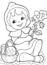 dibujo de caperucita roja cogiendo flores en el bosque para colorear caperucita roja