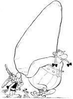 dibujo de Obelix cargado con un menhir para colorear Dibujos para colorear Asterix
