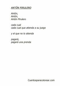 Antón Pirulero Letra de canciones infantiles