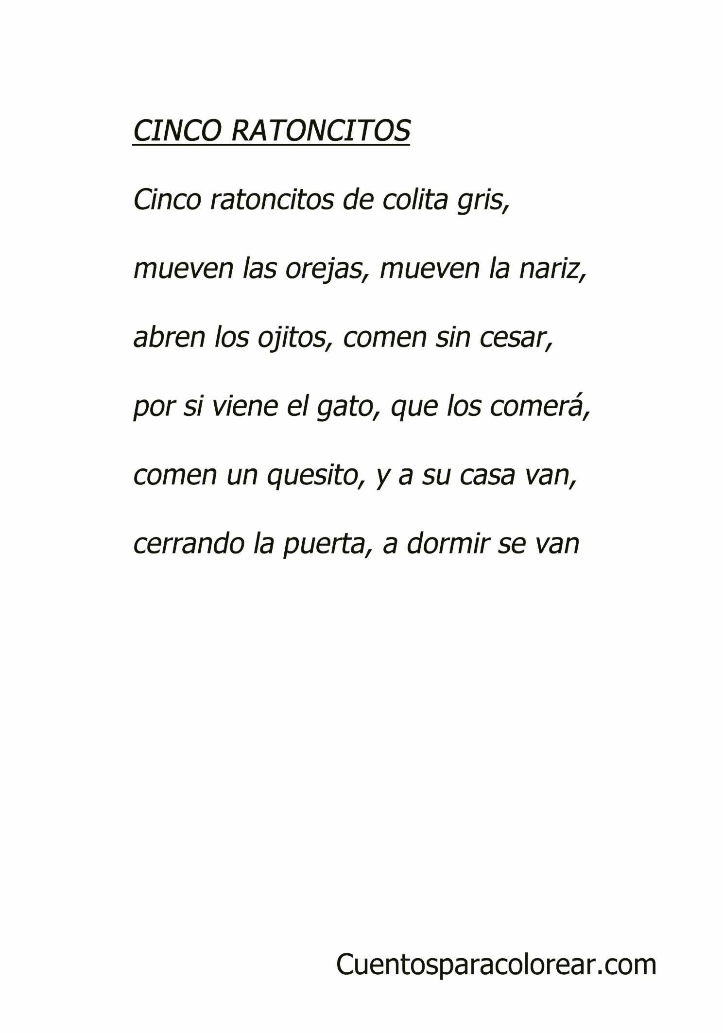 Cinco ratoncitos canciones infantiles - Letras infantiles para puertas ...