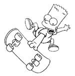 dibujo de Bart simpson con el skateboard. Dibujos para colorear Los Simpson