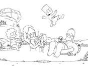Dibujo de los simpsons en la playa para colorear dibujos de los simpsons para colorear y pintar para niños imprimir dibujos infantiles