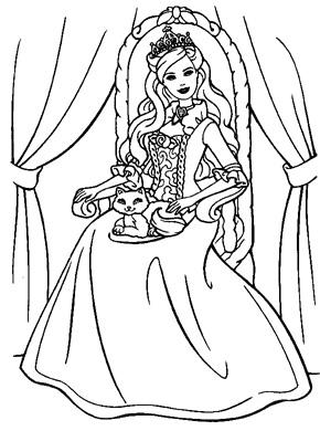 dibujos para colorear y pintar de la princesa barbie