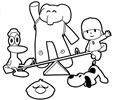 pocoyo y sus amigos jugando para colorear, pocoyo, elly, pato, loula y pajaroto jugando en el columpio para colorear