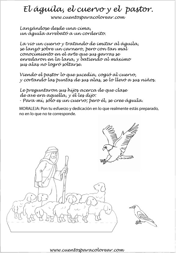 Fábulas Ilustradas El águila El Cuervo Y El Pastor