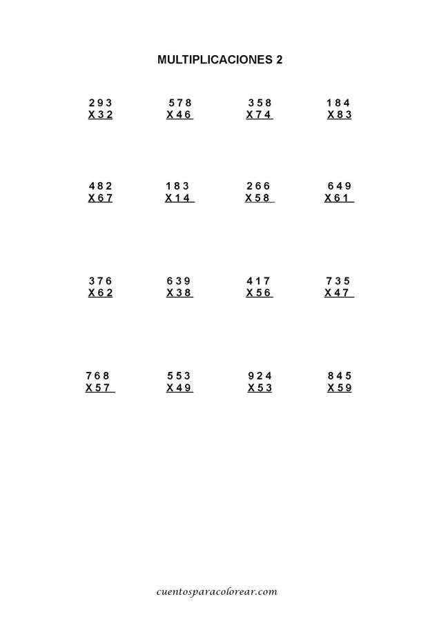 Fichas educativas de multiplicaciones