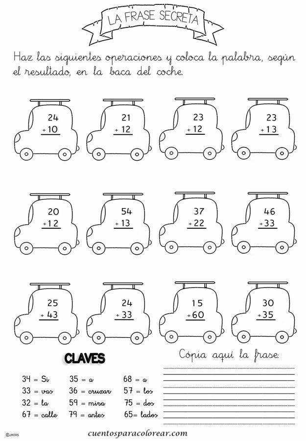 Fichas educativas de problemas matemáticos