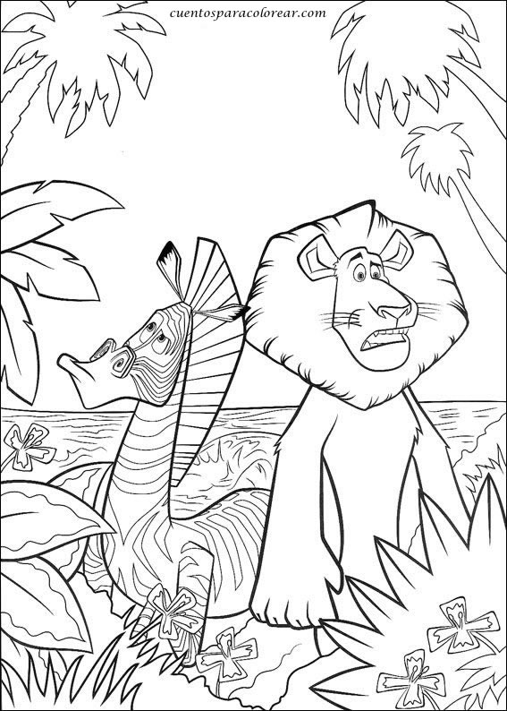 Dibujos para colorear Madagascar